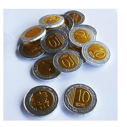 """מטבעות מולטיזן 10 ש""""ח  1 ק""""ג  1/10  (725)"""
