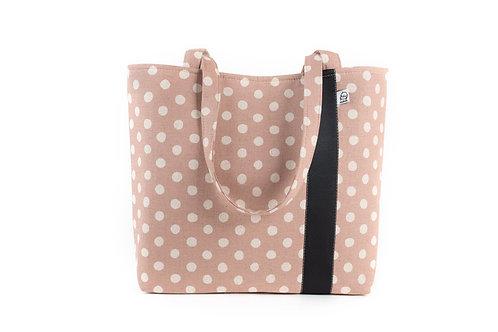 Workforce Fabric Tote Bag, Vegan Handbag, Carry All , Mauve Dot