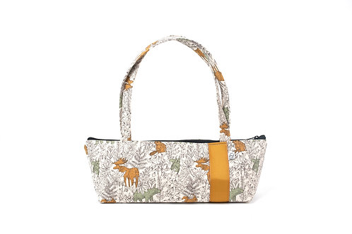 Tomboy Zippered Fabric Handbag,Mustard Moose
