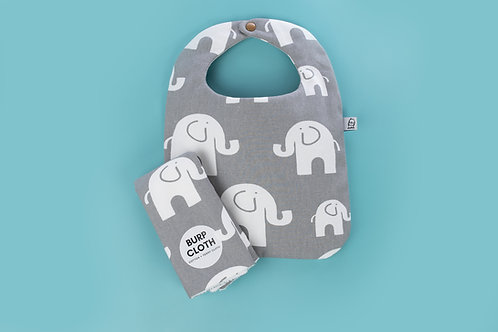Bib and Burp Set / Elephant