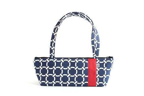 Tomboy Zippered Fabric Handbag,Navy Knot