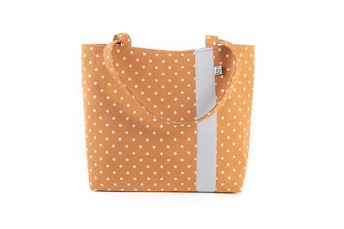 Workforce Fabric Tote Bag, Vegan Handbag, Carry All , Caramel Dot