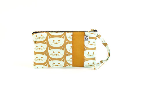 Wristlet, Clutch, Zippered Pouch / Mustard Cat