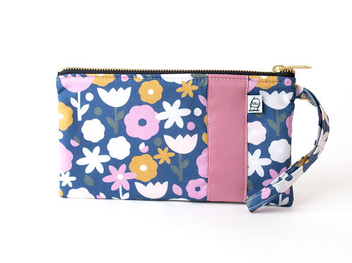 Wristlet, Clutch, Zippered Pouch, Seventies Floral