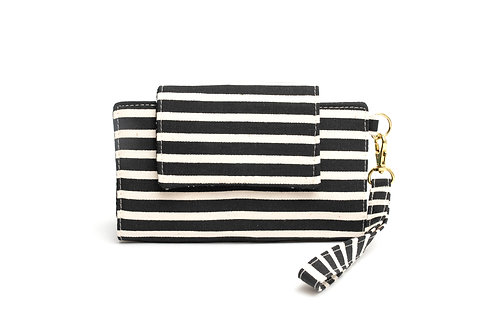 Hercules Cellphone Wallet / Black and White Stripe
