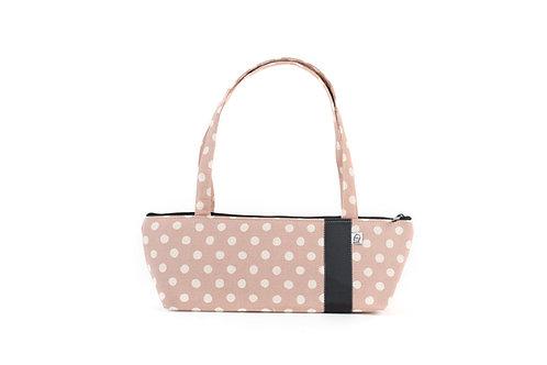 Tomboy Zippered Fabric Handbag,  Mauve Dot