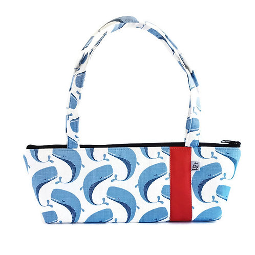 Tomboy Zippered Fabric Handbag, Whale