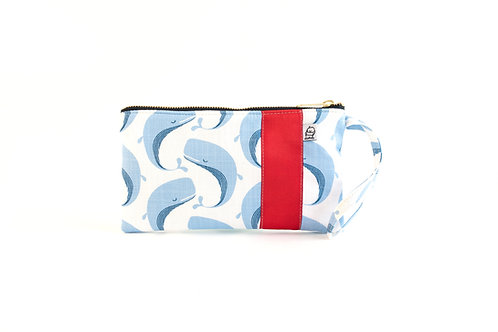 Wristlet, Clutch, Zippered Pouch / Whale