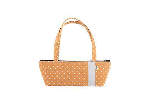 Tomboy Zippered Fabric Handbag, Caramel Dot