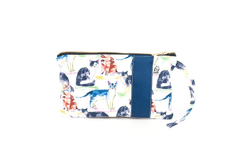Wristlet, Clutch, Zippered Pouch, WC Cat