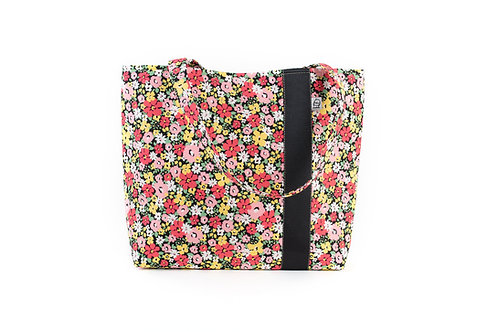 Workforce Fabric Tote Bag, Vegan Handbag, Carry All, Black Floral