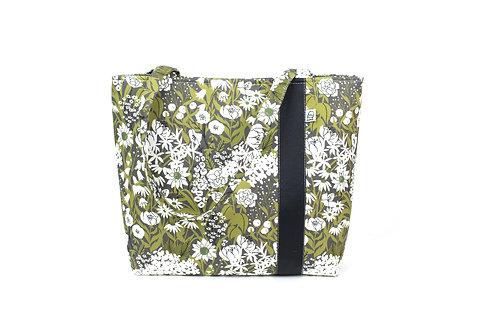 Workforce Fabric Tote Bag, Vegan Handbag, Carry All, Olive Floral