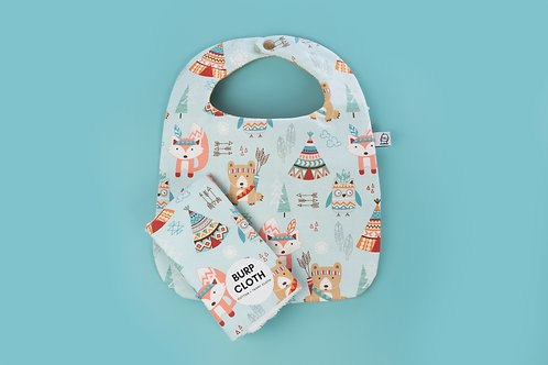 Bib and Burp Set /Native Critters