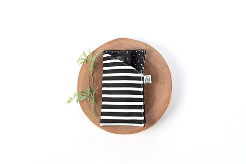 Eyeglass Case / Floral/ Black and White Stripe