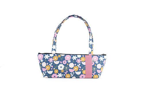 Tomboy Zippered Fabric Handbag,70's Floral