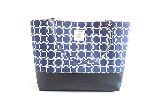 Big Boy Commuter Tote/Navy Knot