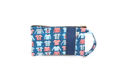 Wristlet, Clutch, Zippered Pouch, Striped Shirt