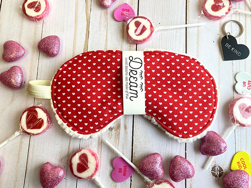 Sleep mask / Cotton Sleep Mask /Red With White hearts