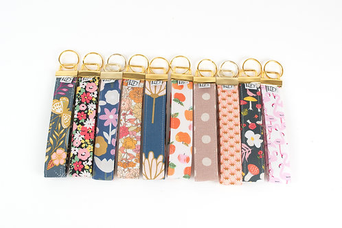 Fabric Key Fobs ( Set of ten, Happy Print)