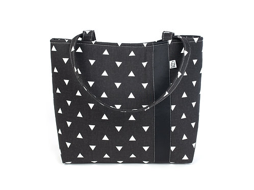 Workforce Fabric Tote Bag, Vegan Handbag, Carry All , Black triangle
