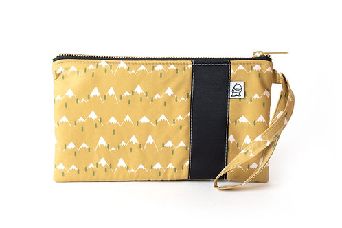 Wristlet, Clutch, Zippered Pouch, Mountain Peak