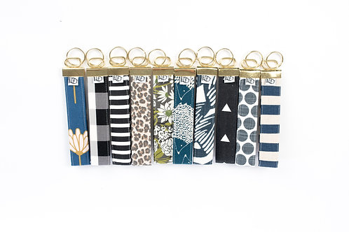 Fabric Key Fobs ( set of ten, Neutral collection)