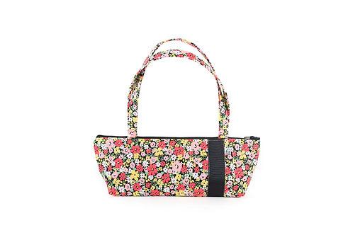 Tomboy Zippered Fabric Handbag, Black Floral