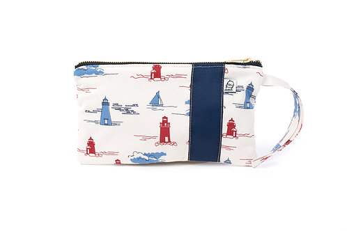 Wristlet, Clutch, Zippered Pouch,Lighthouse
