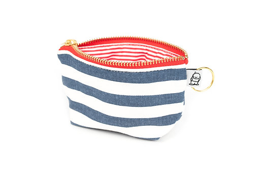 Charlie Change Purse/ Black /Navy Stripe