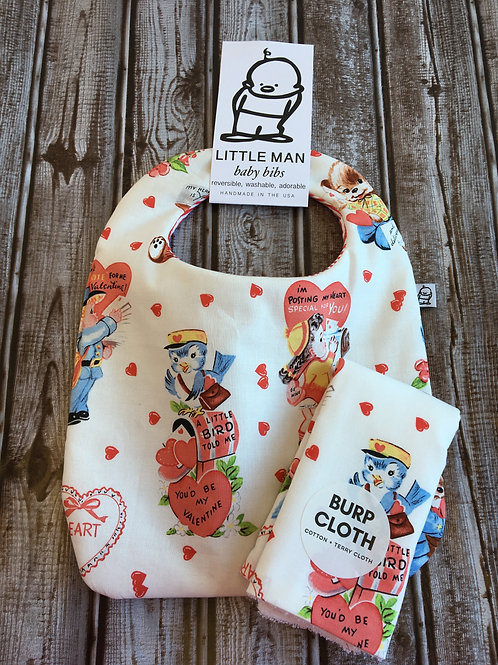 Bib and Burp Set / Vintage Valentines