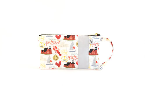 Wristlet, Clutch, Zippered Pouch /Rhode Island