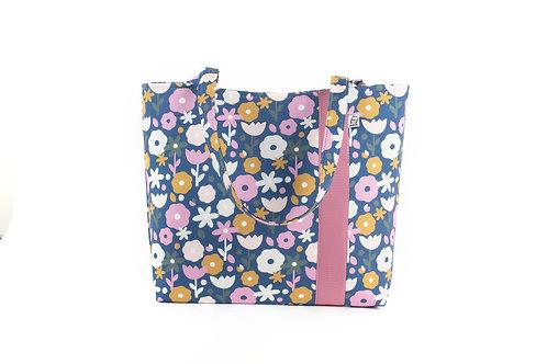 Workforce Fabric Tote Bag, Vegan Handbag, Carry All , 70's Floral