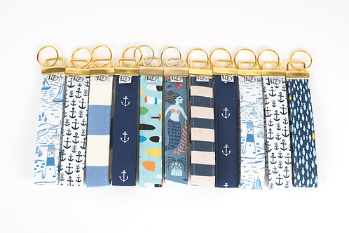 Fabric Key Fobs ( Set of Ten, Nautical Collection)