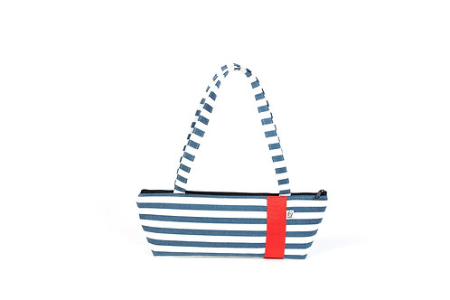 Tomboy Zippered Fabric Handbag, NAVY STRIPE