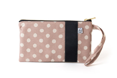 Wristlet, Clutch, Zippered Pouch, Mauve Dot