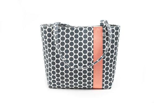 Workforce Fabric Tote Bag, Vegan Handbag, Carry All,Grey Dot / Coral