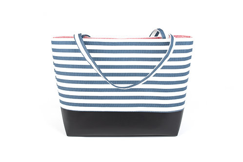 Big Boy Commuter Tote/Navy Stripe