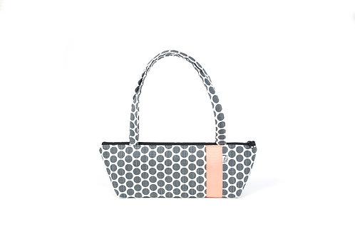 Tomboy Zippered Fabric Handbag, GREY DOT/CORAL