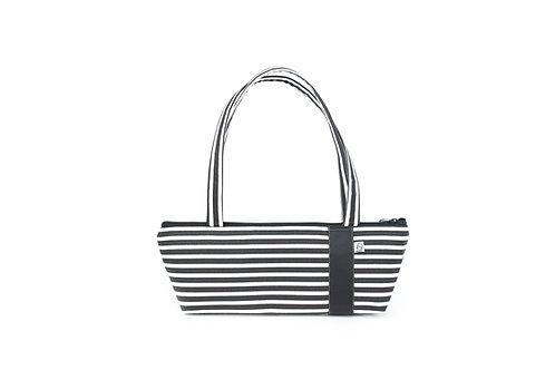 Tomboy Zippered Fabric Handbag, BLACK/WHITE STRIPE
