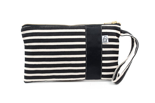 Wristlet, Clutch, Zippered Pouch, Black + White Stripe