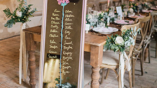Le Petit Prince themed wedding seating chart - on long mirror.