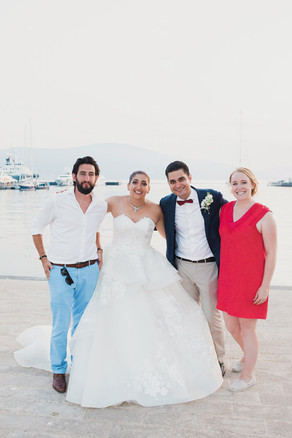 Guillaume + Sarah with S+F just before dinner, Porto Montenegro