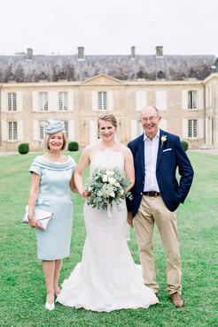 C and her parents at Chateau de Lacoste, Dordogne