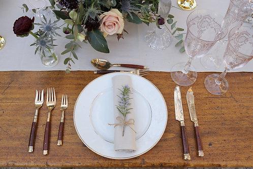Vintage Bronze & Rosewood Cutlery