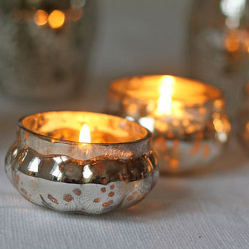 Mercury Silver Tealight Holders