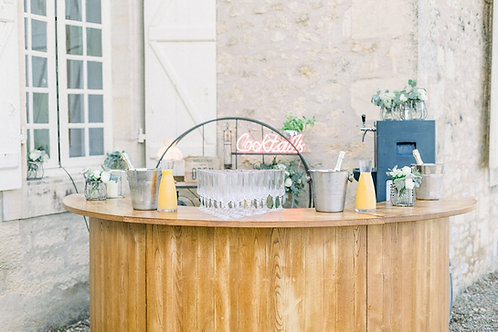 Semi-Circle Wooden Bar