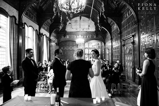Sarah officiating J+A's ceremony at Two Temple Place, London