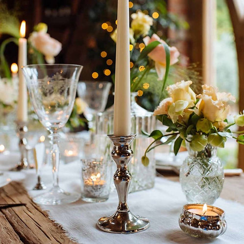 Silver Tapered Candle Holders