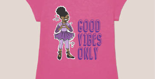 Pink t-shirt with illustration of a girl wearing a ballet outfit next to the words Good Vibes Only