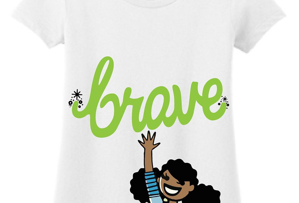 White t-shirt with illustration of a girl with her hand up below the word brave